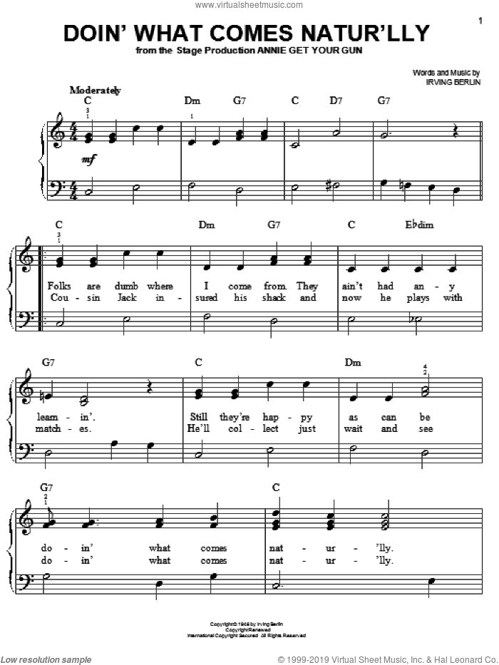 Doin' What Comes Natur'lly sheet music for piano solo by Ethel Merman, Annie Get Your Gun (Musical) and Irving Berlin, easy skill level