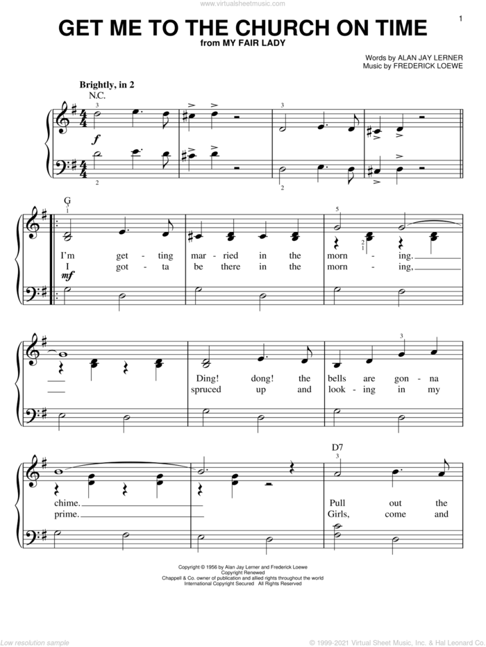 Get Me To The Church On Time sheet music for piano solo by Lerner & Loewe, My Fair Lady (Musical), Alan Jay Lerner and Frederick Loewe, easy skill level