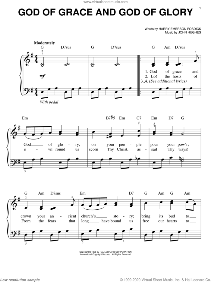 God Of Grace And God Of Glory, (easy) sheet music for piano solo by Harry Emerson Fosdick and John Hughes, easy skill level