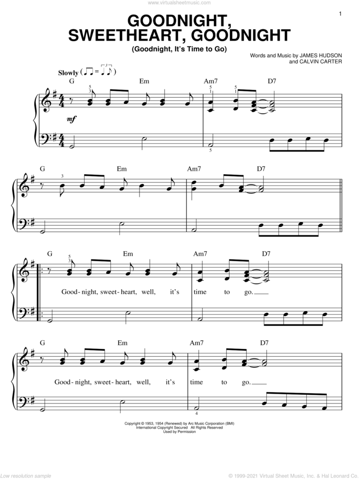 Goodnight, Sweetheart, Goodnight (Goodnight, It's Time To Go) sheet music for piano solo by The Moonglows, Dean Martin, The Platters, The Spaniels, Calvin Carter and James Hudson, easy skill level