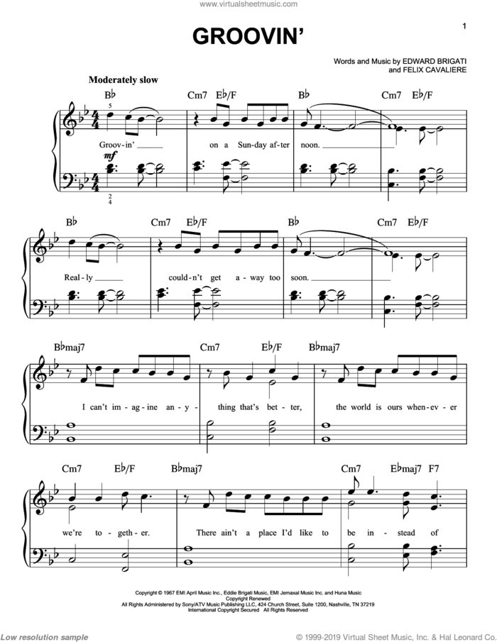 Groovin' sheet music for piano solo by The Young Rascals, Edward Brigati Jr. and Felix Cavaliere, easy skill level