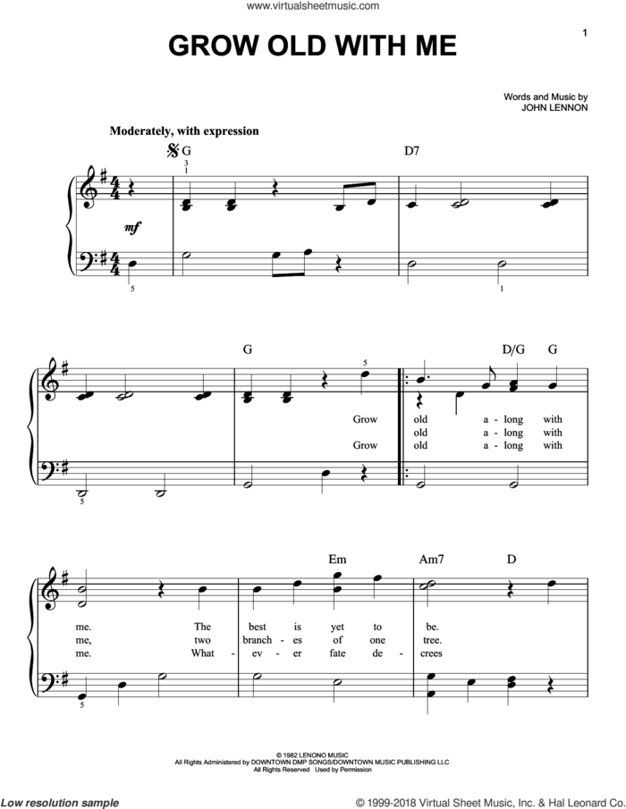 Grow Old With Me, (easy) sheet music for piano solo by John Lennon and Mary Chapin Carpenter, wedding score, easy skill level