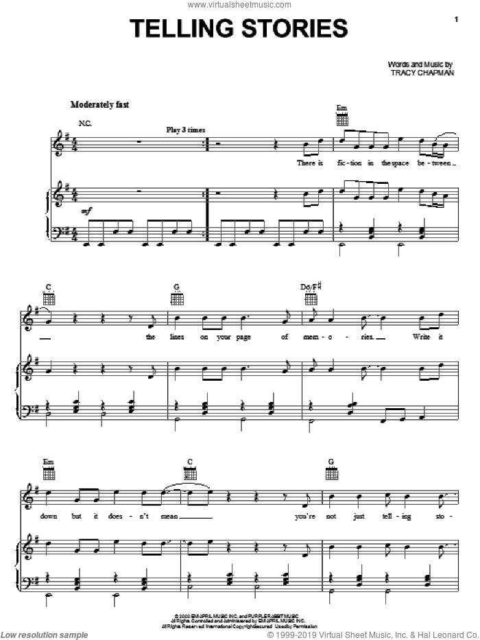 Telling Stories sheet music for voice, piano or guitar by Tracy Chapman, intermediate skill level