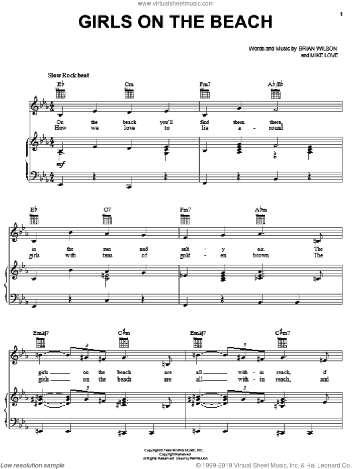 Girls On The Beach sheet music for voice, piano or guitar by The Beach Boys, Brian Wilson and Mike Love, intermediate skill level