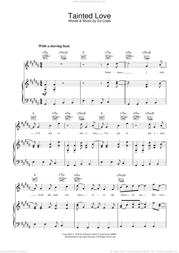 Tainted Love sheet music for voice, piano or guitar by Soft Cell, Marc Almond and Ed Cobb, intermediate skill level