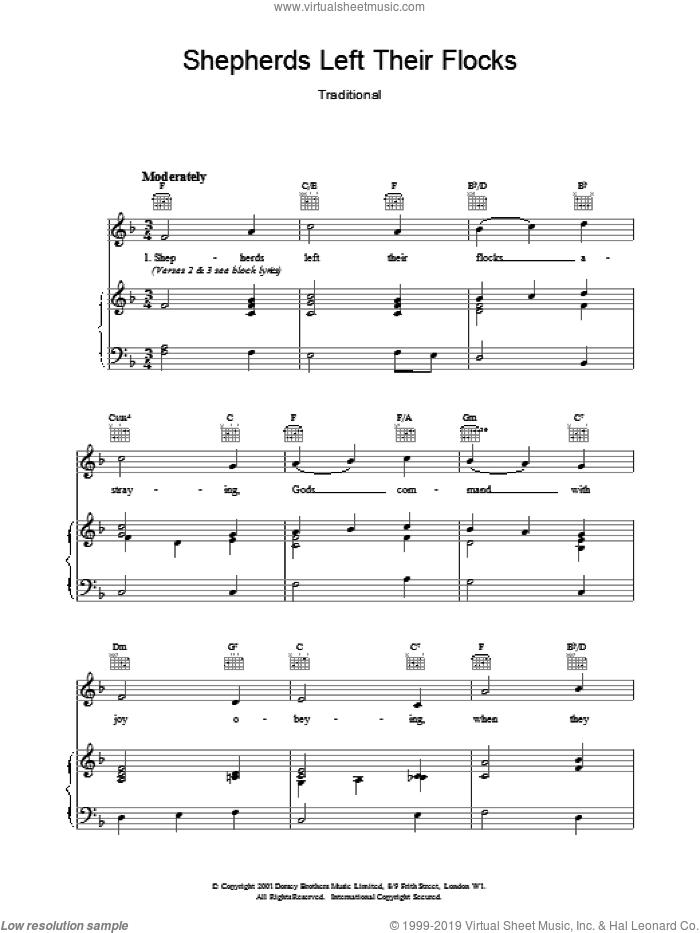 Shepherds Left Their Flocks sheet music for voice, piano or guitar, intermediate skill level