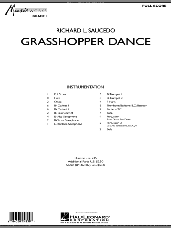Grasshopper Dance (COMPLETE) sheet music for concert band by Richard L. Saucedo, intermediate skill level