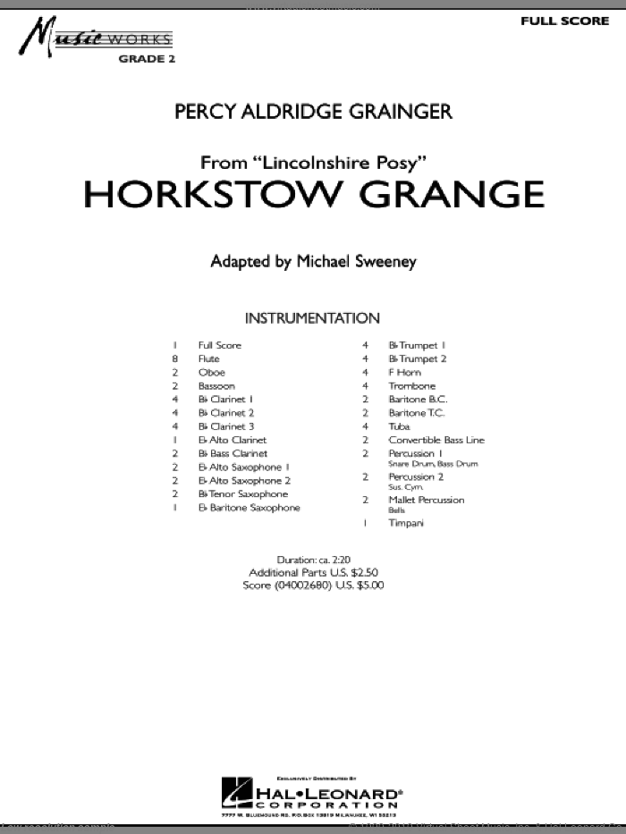Horkstow Grange (COMPLETE) sheet music for concert band by Percy Aldridge Grainger and Michael Sweeney, intermediate skill level