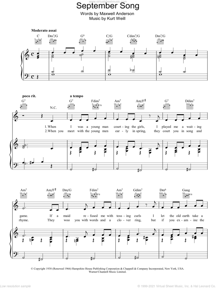 September Song sheet music for voice, piano or guitar by Kurt Weill and Maxwell Anderson, intermediate skill level