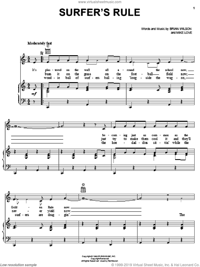 Surfer's Rule sheet music for voice, piano or guitar by The Beach Boys, Brian Wilson and Mike Love, intermediate skill level