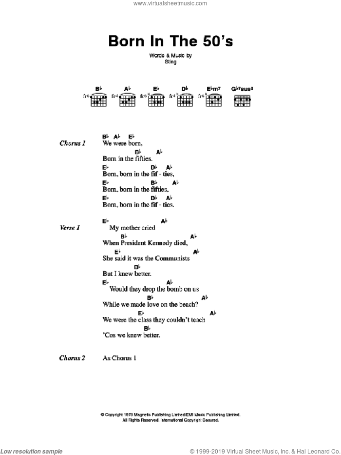 Born In The Fifties sheet music for guitar (chords) by The Police and Sting, intermediate skill level