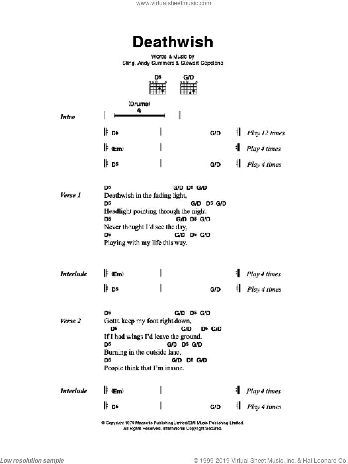 Deathwish sheet music for guitar (chords) by The Police, Andy Summers, Stewart Copeland and Sting, intermediate skill level