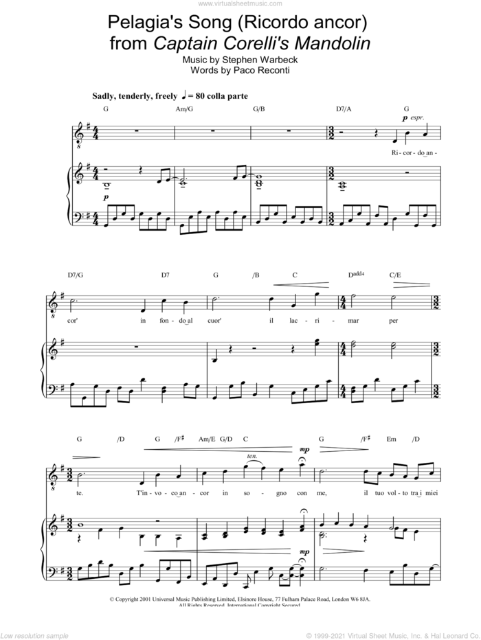 Pelagia's Song (Ricordo ancor)  from Captain Corelli's Mandolin sheet music for voice, piano or guitar by Russell Watson, classical score, intermediate skill level