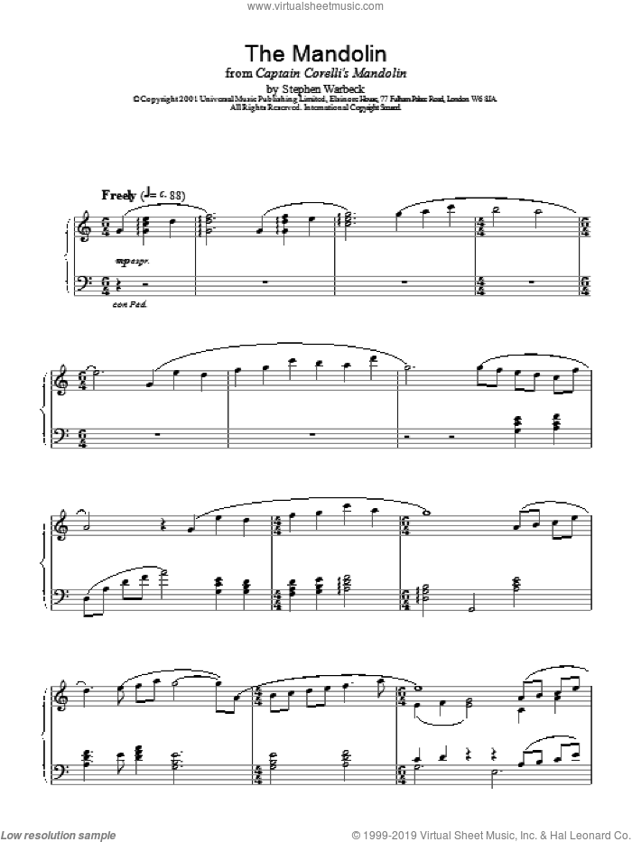 The Mandolin sheet music for piano solo by Stephen Warbeck, intermediate skill level