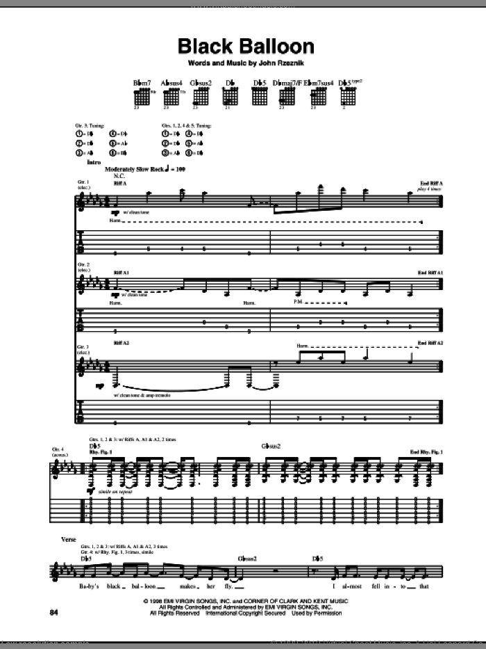Black Balloon sheet music for guitar (tablature) by Goo Goo Dolls and John Rzeznik, intermediate skill level