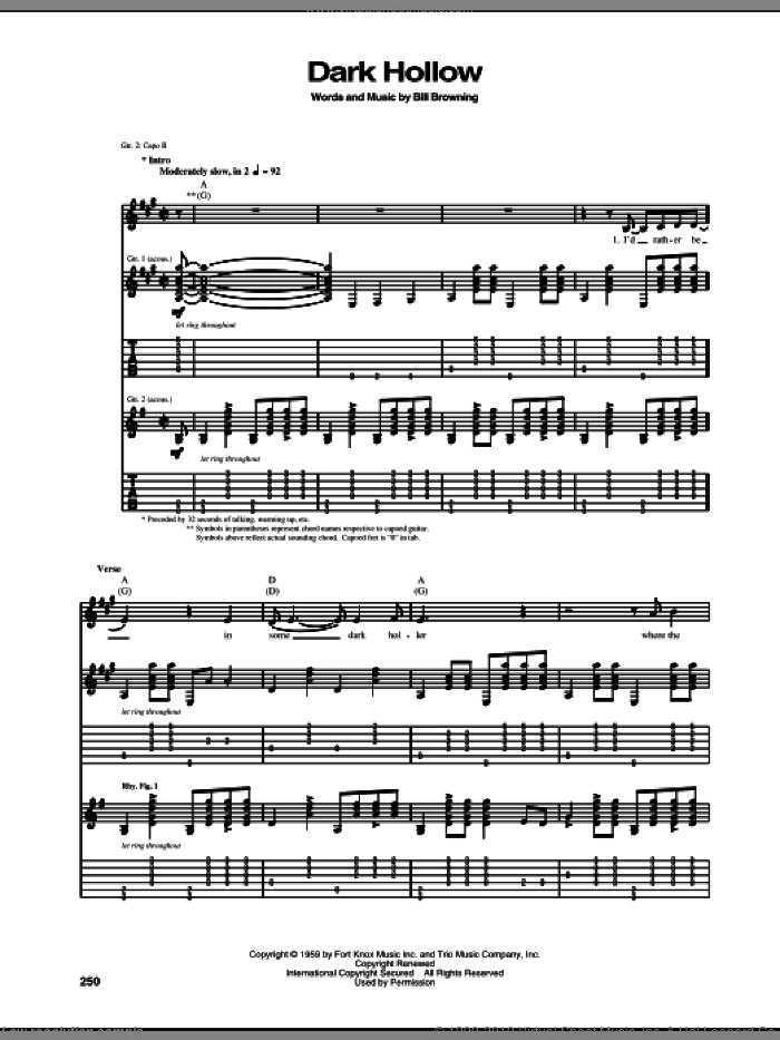 Dark Hollow sheet music for guitar (tablature) by Grateful Dead and Bill Browning, intermediate skill level