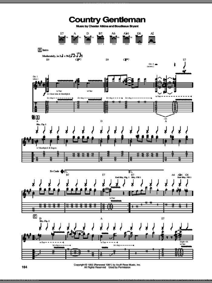 Country Gentleman sheet music for guitar (tablature) by Chet Atkins and Boudleaux Bryant, intermediate skill level