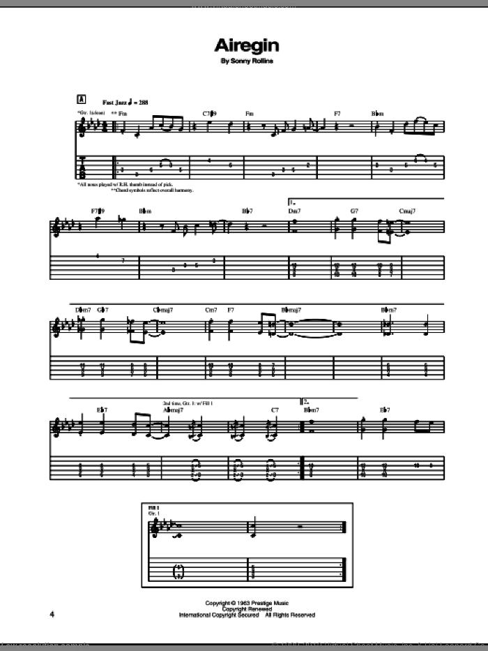 Airegin sheet music for guitar (tablature) by Sonny Rollins, intermediate skill level