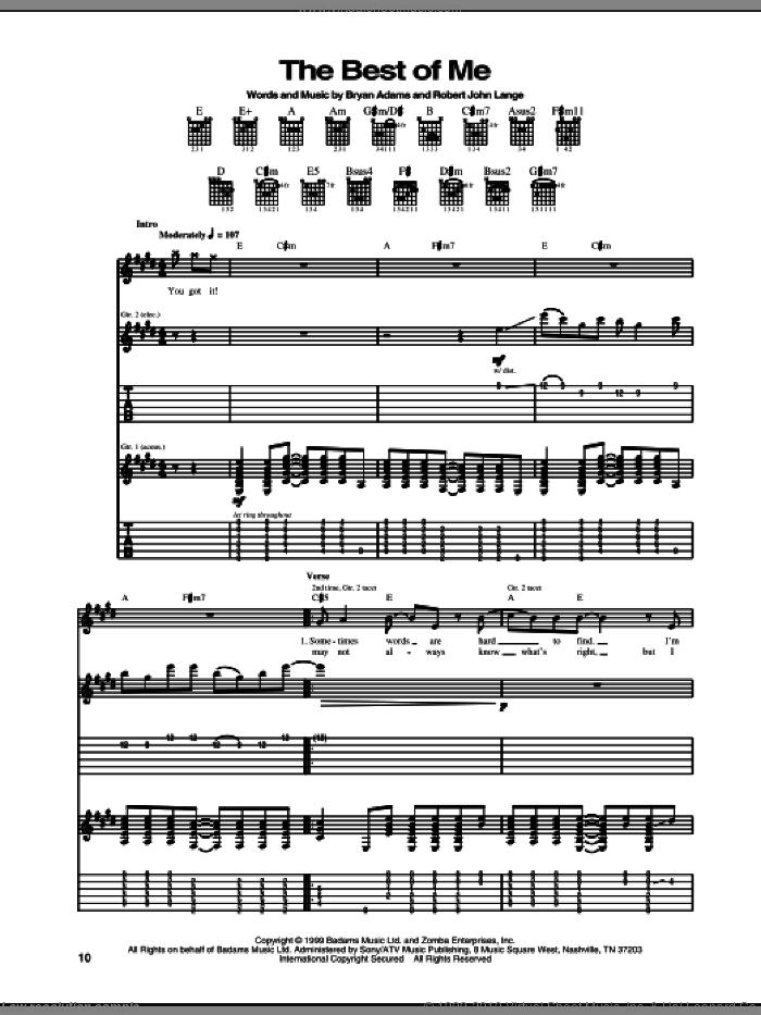 The Best Of Me sheet music for guitar (tablature) by Bryan Adams and Robert John Lange, intermediate skill level