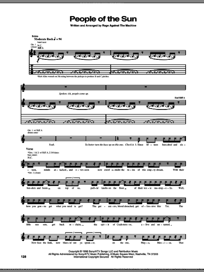 People Of The Sun sheet music for guitar (tablature) by Rage Against The Machine, intermediate skill level
