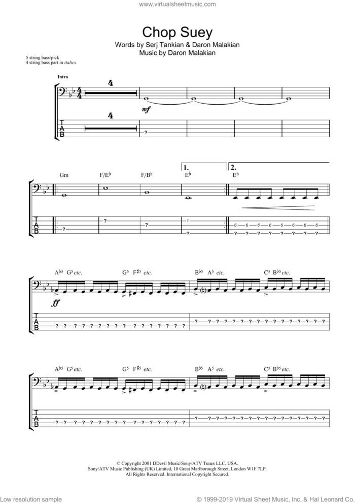 Chop Suey! sheet music for bass (tablature) (bass guitar) by System Of A Down, Daron Malakian and Serj Tankian, intermediate skill level