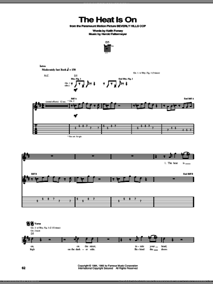 The Heat Is On sheet music for guitar (tablature) by Glenn Frey, Harold Faltermeyer and Keith Forsey, intermediate skill level