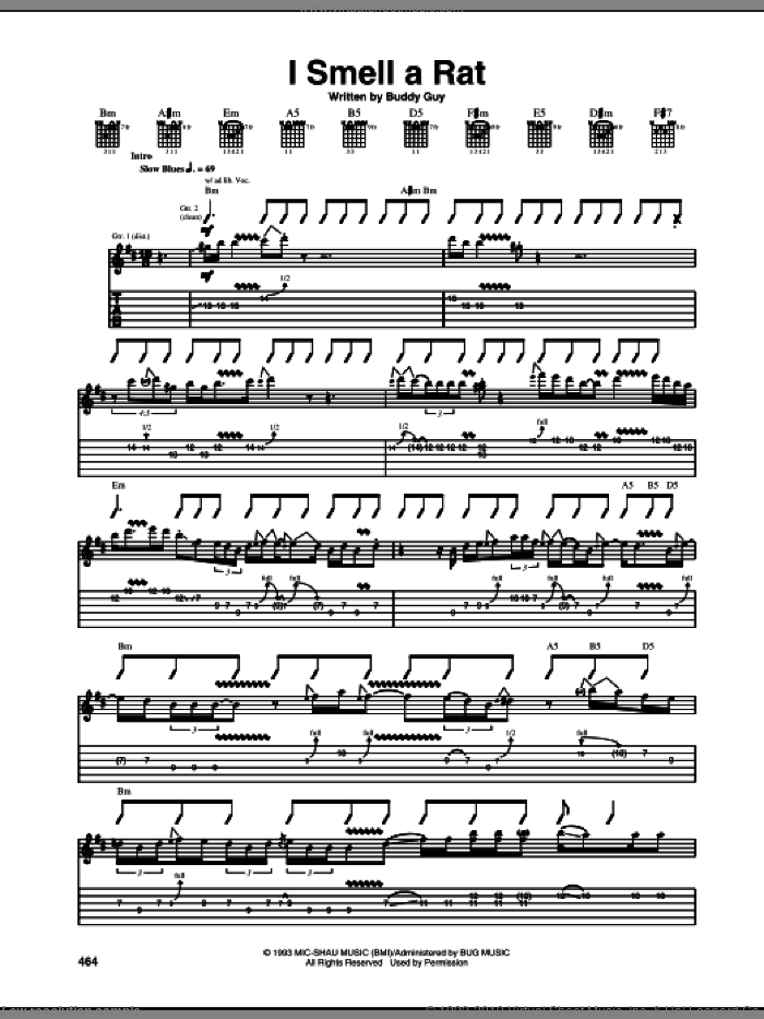 I Smell A Rat sheet music for guitar (tablature) by Buddy Guy, intermediate skill level