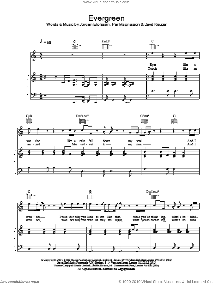 Evergreen sheet music for voice, piano or guitar by Westlife, intermediate skill level