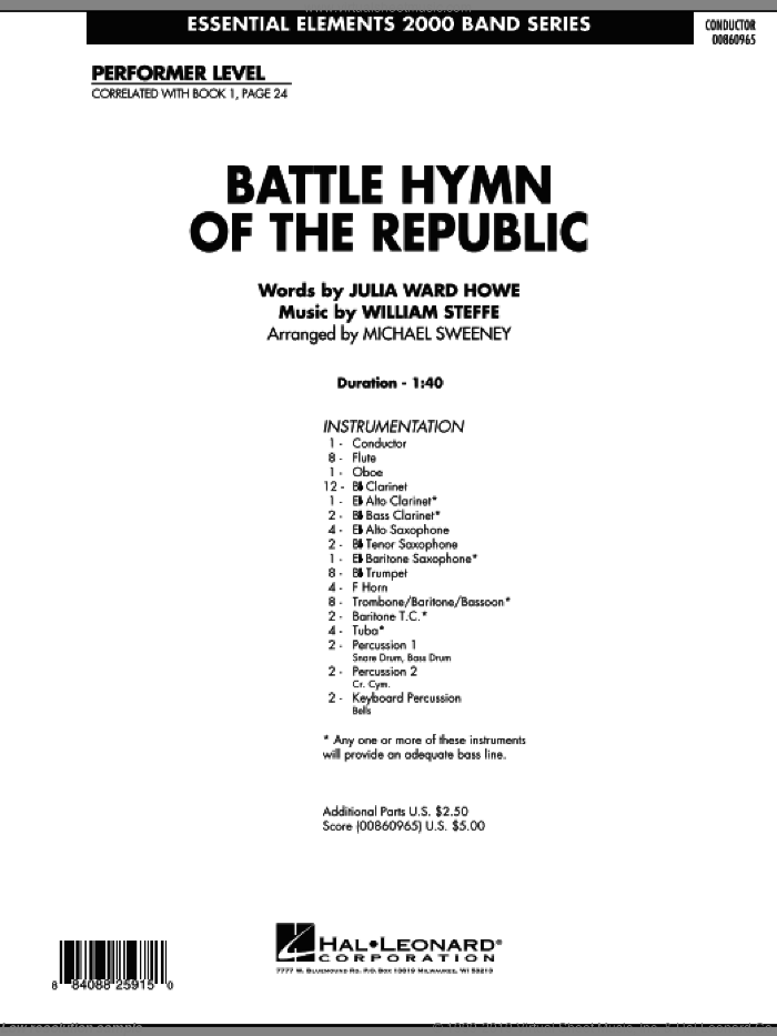 Battle Hymn of the Republic (COMPLETE) sheet music for concert band by Michael Sweeney, intermediate skill level