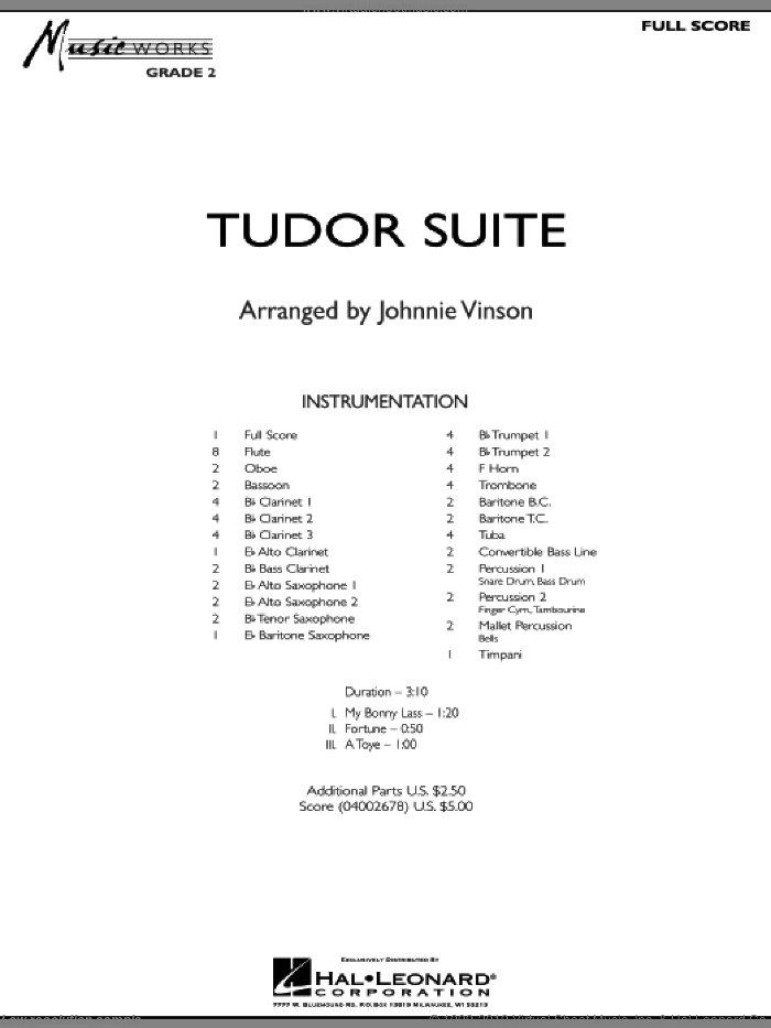 Tudor Suite (COMPLETE) sheet music for concert band by Johnnie Vinson, intermediate skill level