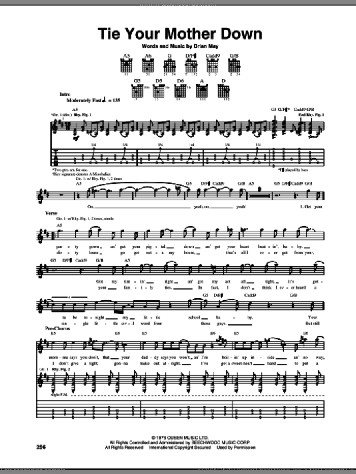 Tie Your Mother Down sheet music for guitar (tablature) by Queen and Brian May, intermediate skill level