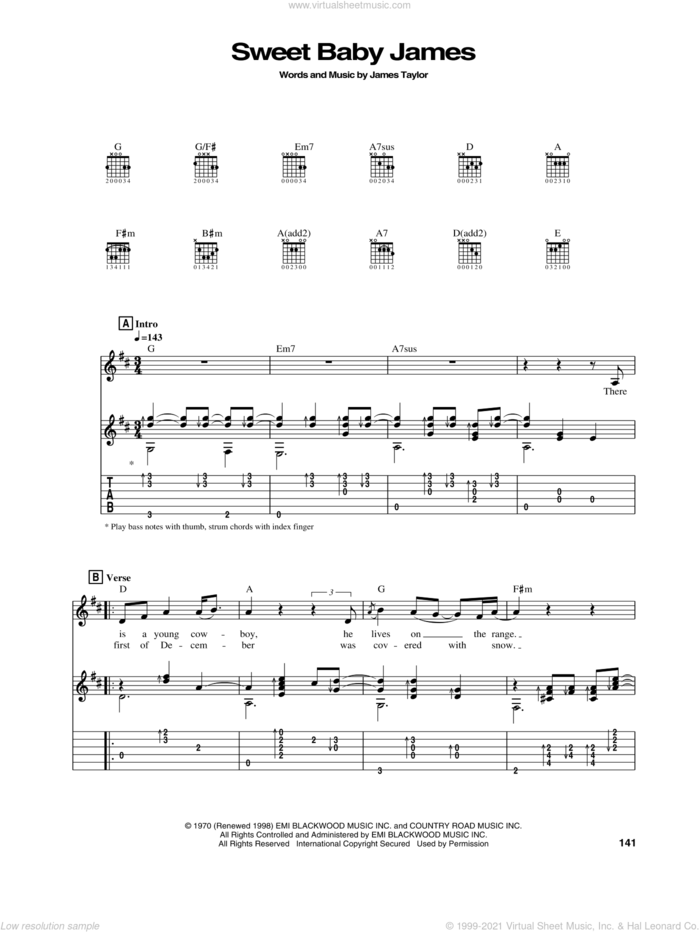 Sweet Baby James sheet music for guitar (tablature) by James Taylor, intermediate skill level