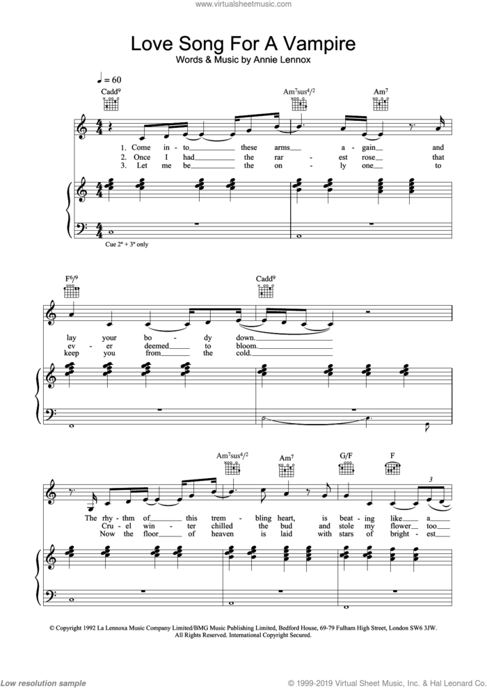 Love Song For A Vampire sheet music for voice, piano or guitar by Annie Lennox, intermediate skill level