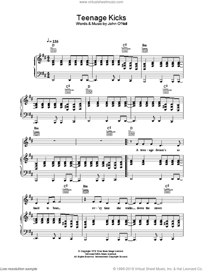 Teenage Kicks sheet music for voice, piano or guitar by The Undertones, intermediate skill level