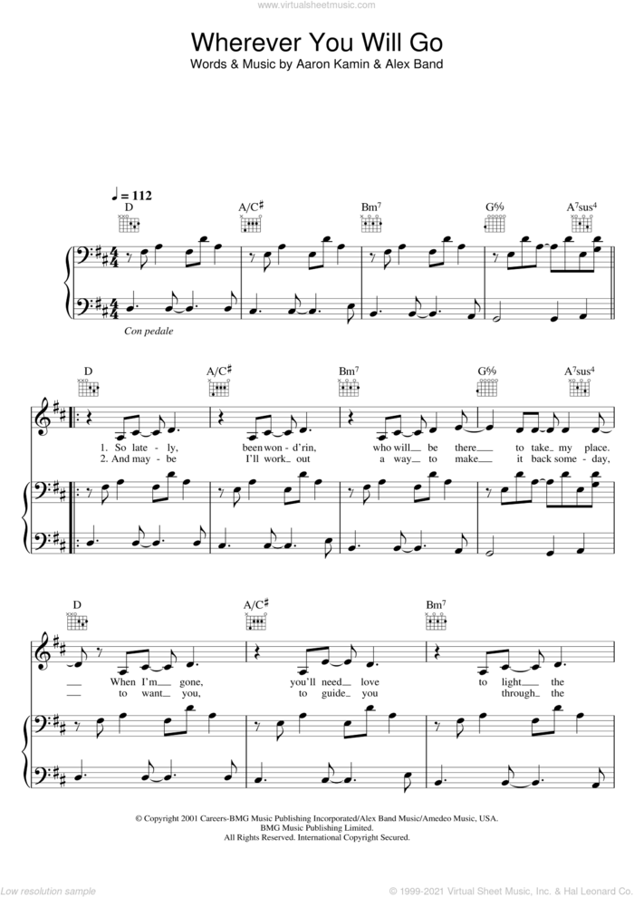 Wherever You Will Go sheet music for voice, piano or guitar by The Calling, Charlene Soraia, Aaron Kamin and Alex Band, intermediate skill level