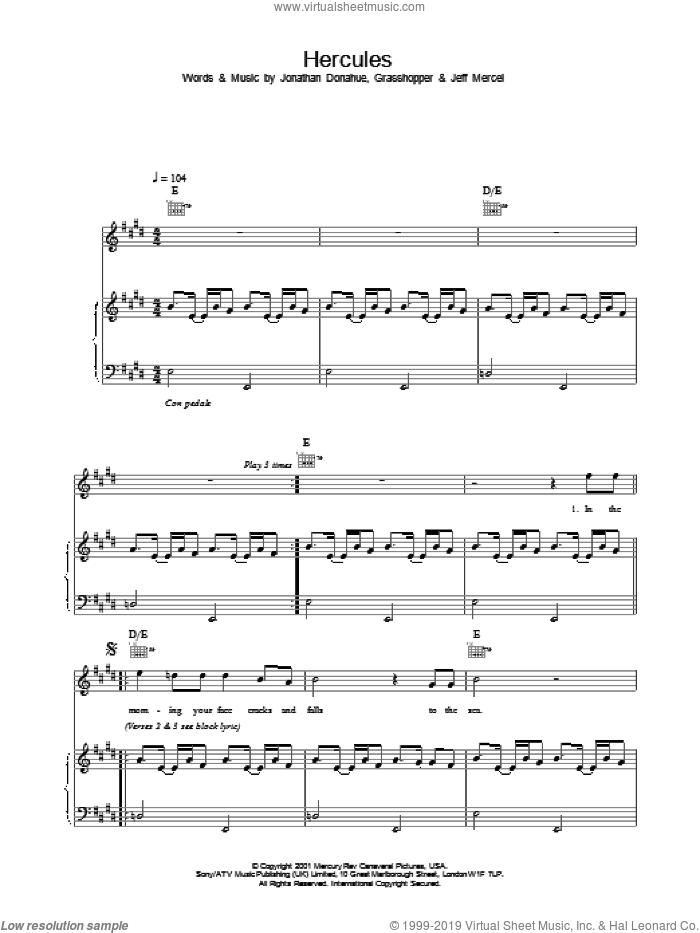 Hercules sheet music for voice, piano or guitar by Mercury Rev, intermediate skill level