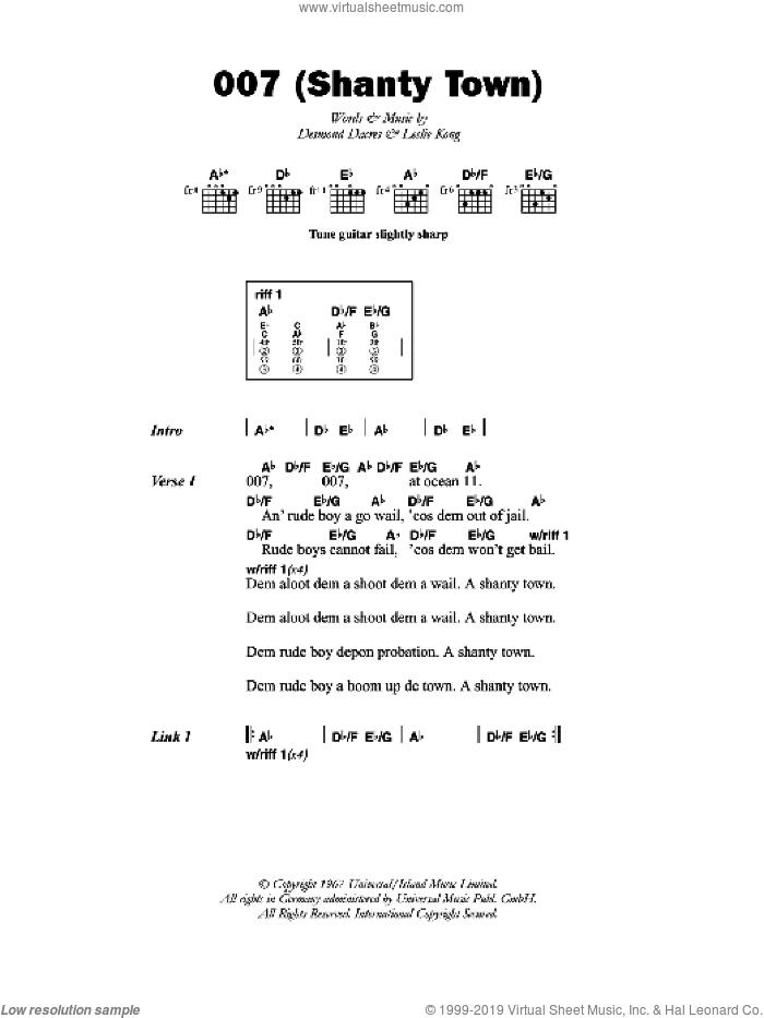007 (Shanty Town) sheet music for guitar (chords) by Desmond Dekker, Desmond Dacres and Leslie Kong, intermediate skill level