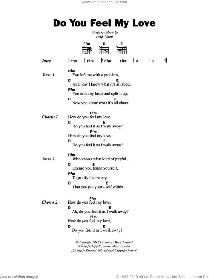 Do You Feel My Love sheet music for guitar (chords) by Eddy Grant, intermediate skill level