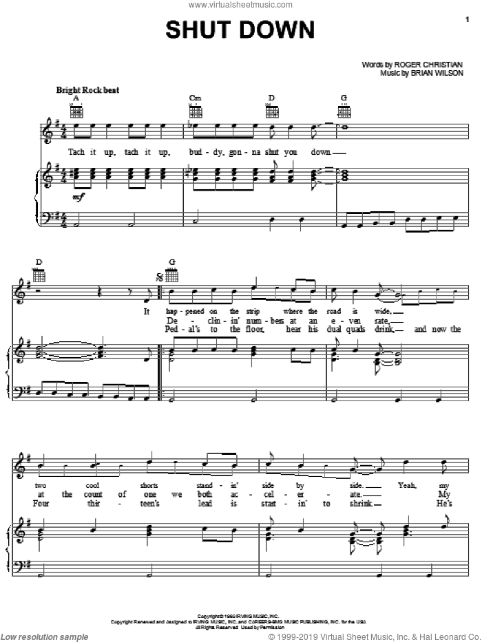 Shut Down sheet music for voice, piano or guitar by The Beach Boys, Brian Wilson and Roger Christian, intermediate skill level
