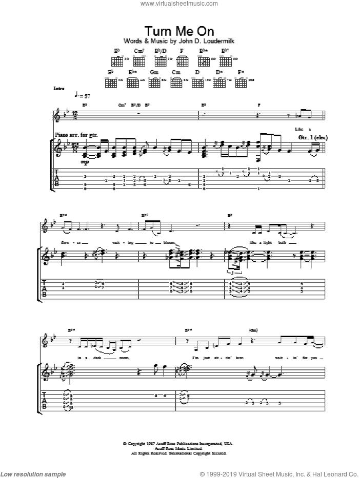 Turn Me On sheet music for guitar (tablature) by Norah Jones, intermediate skill level