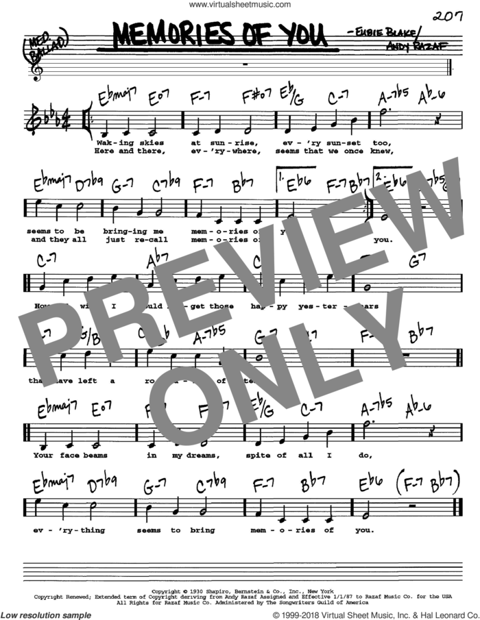 Memories Of You sheet music for voice and other instruments  by Rosemary Clooney, Andy Razaf and Eubie Blake, intermediate skill level