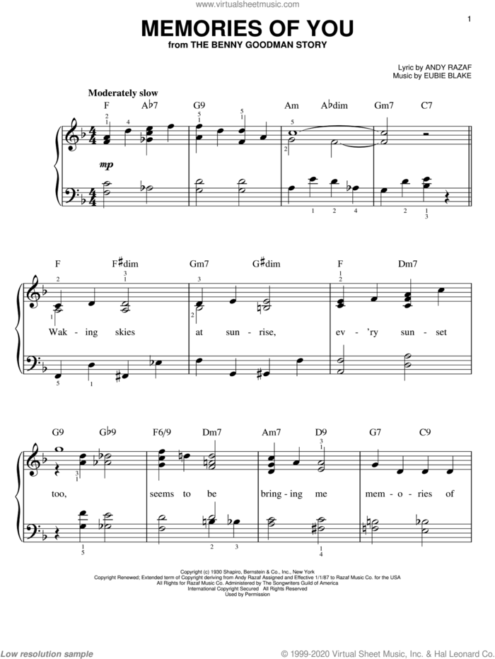 Memories Of You sheet music for piano solo by Rosemary Clooney, Andy Razaf and Eubie Blake, easy skill level