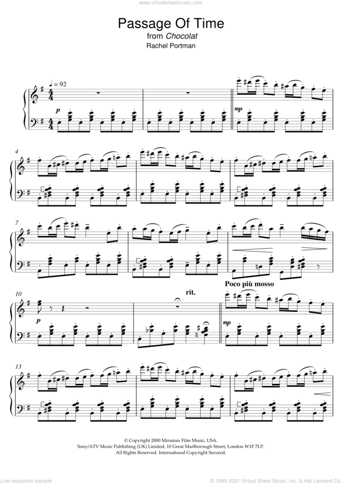 Passage Of Time (from Chocolat) sheet music for piano solo by Chocolat, Chocolat (Movie) and Rachel Portman, intermediate skill level