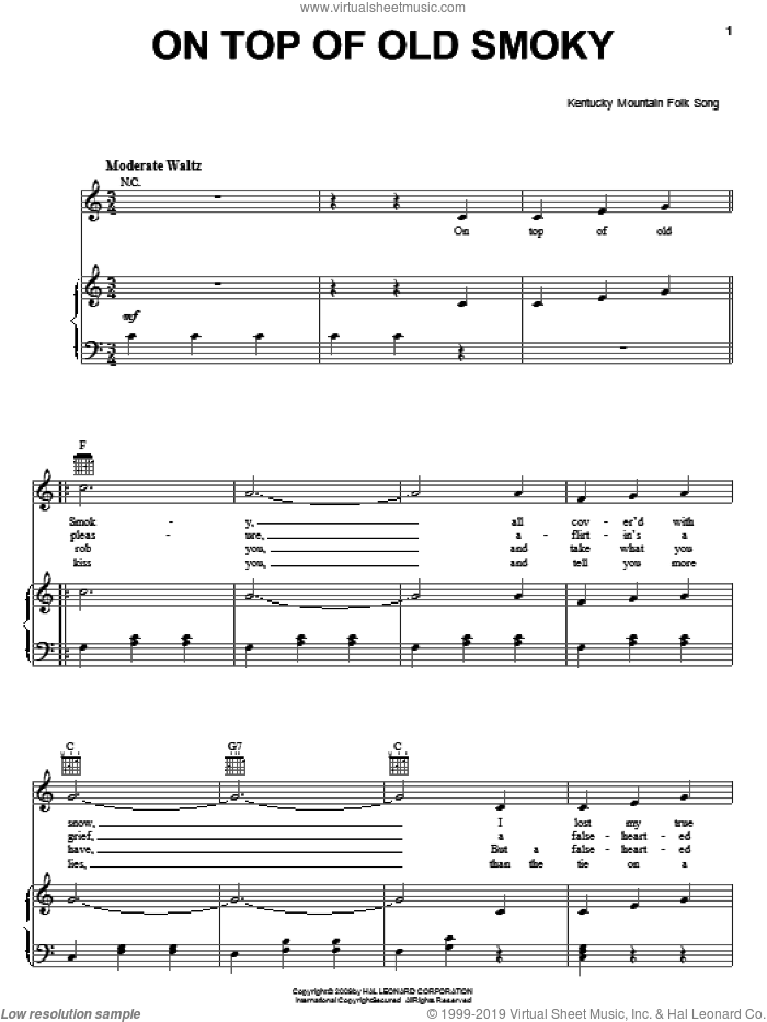 On Top Of Old Smoky sheet music for voice, piano or guitar, intermediate skill level