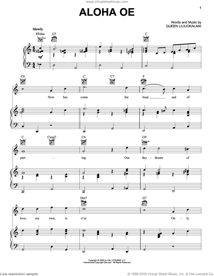 Aloha Oe sheet music for voice, piano or guitar by Queen Liliuokalani, intermediate skill level
