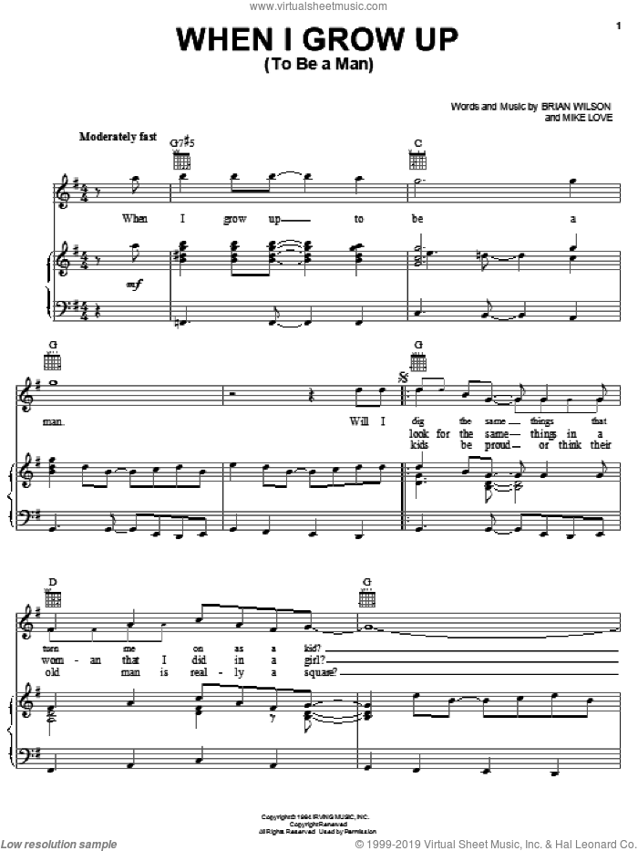 When I Grow Up (To Be A Man) sheet music for voice, piano or guitar by The Beach Boys, Brian Wilson and Mike Love, intermediate skill level