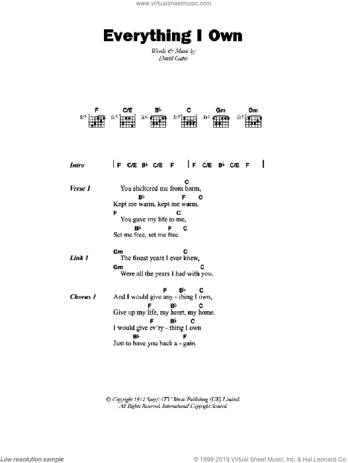 Everything I Own sheet music for guitar (chords) by Ken Boothe and David Gates, intermediate skill level