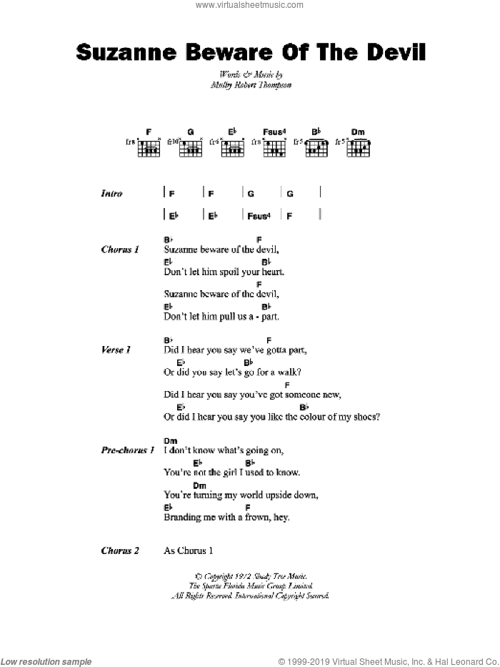 Suzanne Beware Of The Devil sheet music for guitar (chords) by Dandy Livingstone and Mulby Robert Thompson, intermediate skill level
