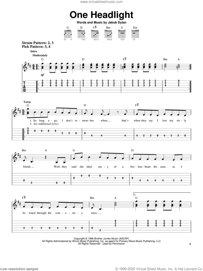 One Headlight sheet music for guitar solo (easy tablature) by The Wallflowers and Jakob Dylan, easy guitar (easy tablature)