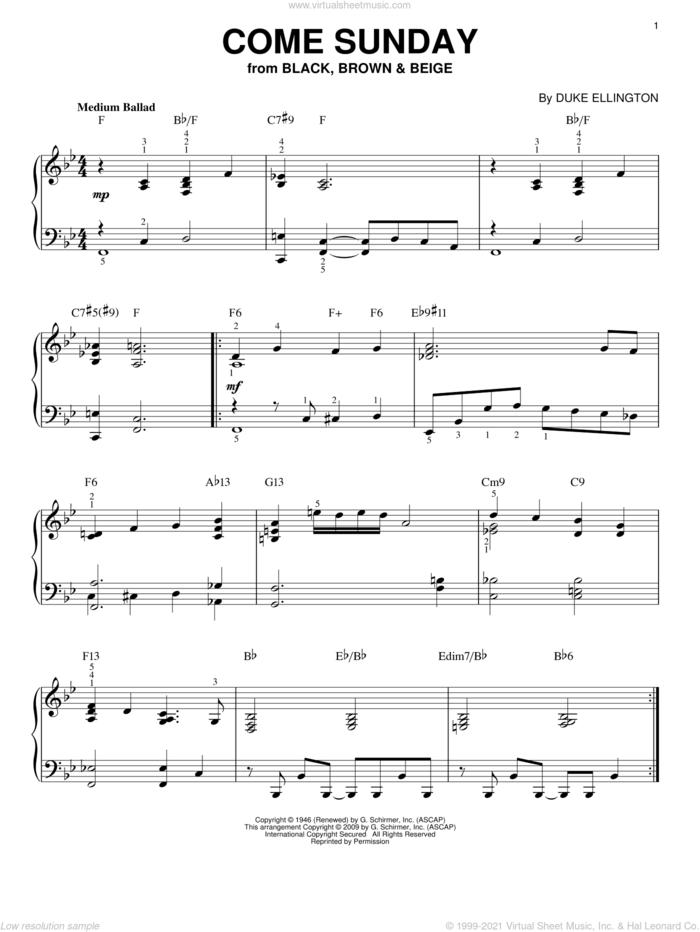 Come Sunday (arr. Brent Edstrom) sheet music for piano solo by Duke Ellington and Brent Edstrom, intermediate skill level